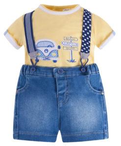 """Σετ μπλούζα κοντομάνικη κίτρινη με τζιν βερμούδα και τιράντες """"Beach"""""""