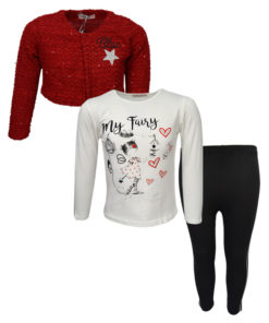 """Σετ μπολερό κόκκινο με μακρυμάνικη μπλούζα λευκή και κολάν μαύρο """"Blue"""""""