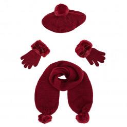 Σετ μπορντό κασκόλ με φουντίστες στο τελείωμα, γάντια και σκούφος