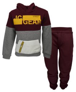 """Σετ μπορντό μακρυμάνικη μπλούζα με κουκούλα και μπορντό φόρμα παντελόνι """"JC Gear"""""""