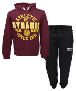 """Σετ μπορντό μακρυμάνικη μπλούζα με μαύρη φόρμα παντελόνι """"Dynamic"""""""
