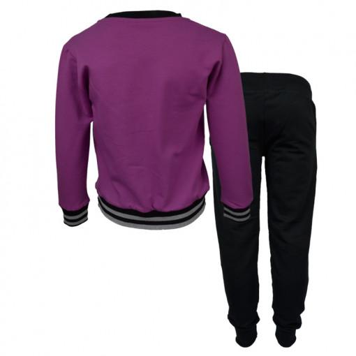 """Σετ μωβ μακρυμάνικη μπλούζα με μαύρη φόρμα παντελόνι """"World"""" πίσω μέρος"""