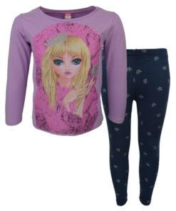 """Σετ μωβ μακρυμάνικη μπλούζα με μπλε κολάν """"Princess"""""""