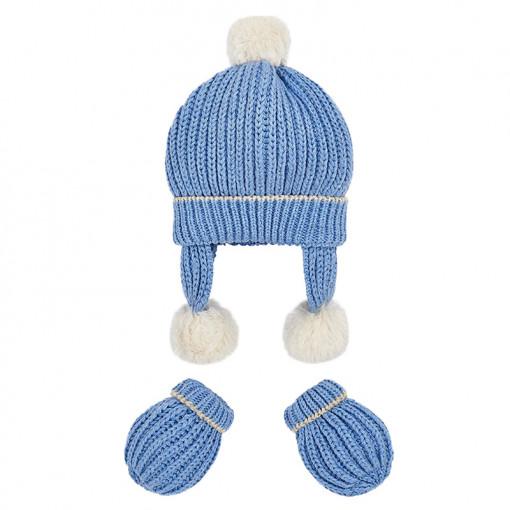 Σετ πλεκτός σκούφος με κασκόλ και γάντια μπλε