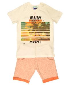"""Σετ πορτοκαλί βερμούδα με μπλούζα """"HAWAI"""""""