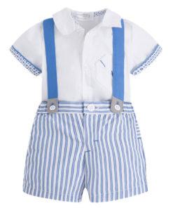 Σετ πουκάμισο λευκό με ριγέ παντελόνι γαλάζιο και τιράντες