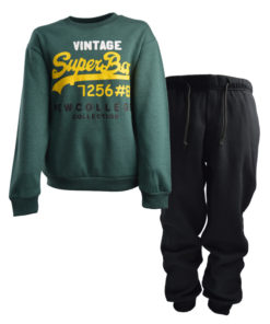 """Σετ πράσινη μακρυμάνικη μπλούζα με μαύρη φόρμα παντελόνι """"Vintage"""""""