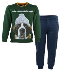 """Σετ πράσινη μακρυμάνικη μπλούζα με μπλε φόρμα παντελόνι """"The Mountain Top"""""""