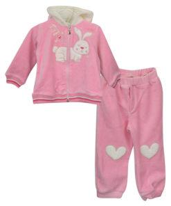 """Σετ ροζ βελουτέ ζακέτα με κουκούλα και ροζ φόρμα """"My Cute Friend"""""""