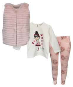 """Σετ ροζ γιλέκο με εκρού μακρυμάνικη μπλούζα και ροζ κολάν """"Κορίτσι με Γατούλα"""""""