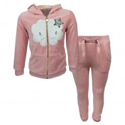 """Σετ ροζ ζακέτα με κουκούλα και ροζ φόρμα παντελόνι """"Συννεφάκι"""""""