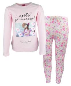 """Σετ ροζ μακρυμάνικη μπλούζα με κολάν εμπριμέ """"Cute Princess"""""""
