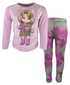 Σετ ροζ μακρυμάνικη μπλούζα με κολάν εμπριμέ