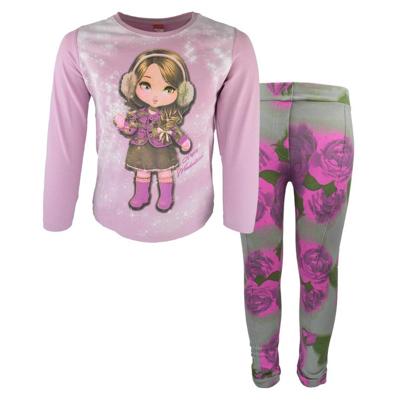 9be2134fa6b0 Σετ ροζ μακρυμάνικη μπλούζα με κολάν εμπριμέ