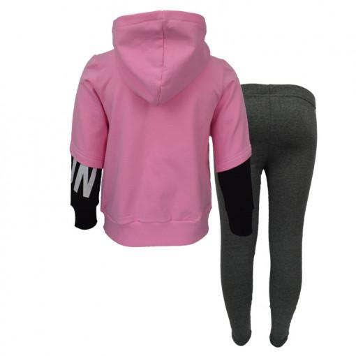 """Σετ ροζ μακρυμάνικη μπλούζα με κουκούλα και γκρι κολάν χοντρό """"Runout"""" πίσω μέρος"""