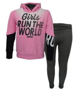 """Σετ ροζ μακρυμάνικη μπλούζα με κουκούλα και γκρι κολάν χοντρό """"Runout"""""""