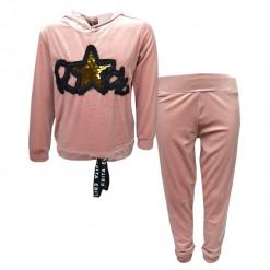 """Σετ ροζ μακρυμάνικη μπλούζα με κουκούλα και ροζ φόρμα παντελόνι """"Rock"""""""
