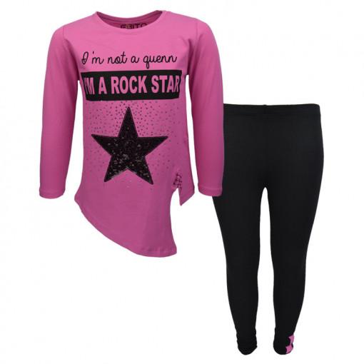 """Σετ ροζ μακρυμάνικη μπλούζα με μαύρο κολάν """"I'm a Rock Star"""""""