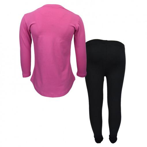 """Σετ ροζ μακρυμάνικη μπλούζα με μαύρο κολάν """"Smile Can Do"""" πίσω μέρος"""