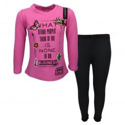 """Σετ ροζ μακρυμάνικη μπλούζα με μαύρο κολάν """"Smile Can Do"""""""