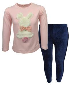 """Σετ ροζ μακρυμάνικη μπλούζα με μπλε βελουτέ κοτλέ κολάν """"Λαγουδάκι"""""""