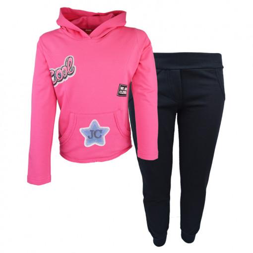 """Σετ ροζ μακρυμάνικη μπλούζα με φόρμα παντελόνι """"Patches"""""""