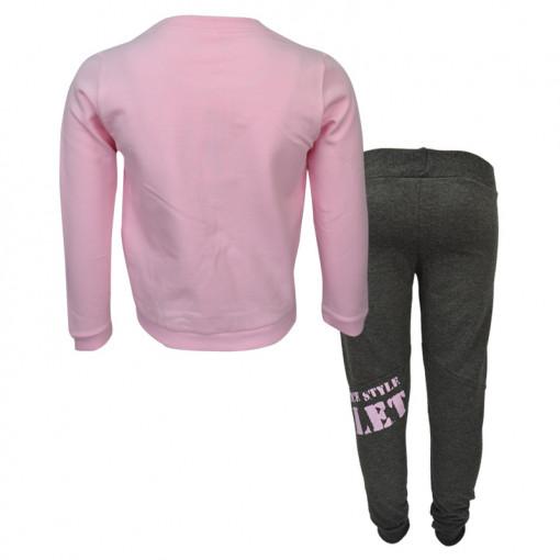 """Σετ ροζ μακρυμάνικη μπλούζα με φόρμα παντελόνι """"Ballet"""" πίσω μέρος"""
