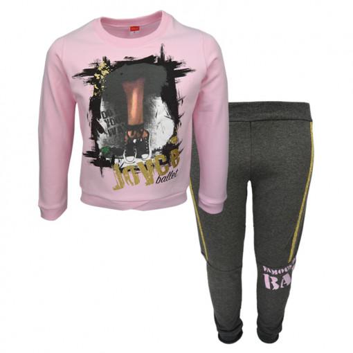"""Σετ ροζ μακρυμάνικη μπλούζα με φόρμα παντελόνι """"Ballet"""""""