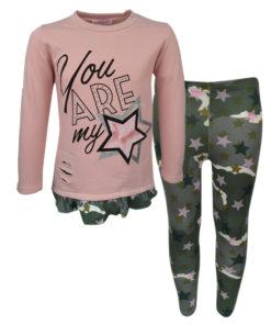 """Σετ ροζ μακρυμάνικη μπλούζα με χακί κολάν """"You are my Star"""""""