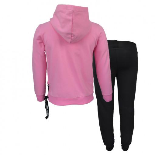 """Σετ ροζ μακρυμάνικη μπλούζα φούτερ με κουκούλα και μαύρη φόρμα παντελόνι """"Power"""" πίσω μέρος"""