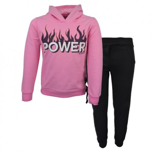 """Σετ ροζ μακρυμάνικη μπλούζα φούτερ με κουκούλα και μαύρη φόρμα παντελόνι """"Power"""""""