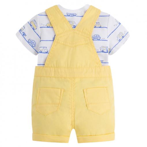 """Σετ σαλοπέτα κοντή κίτρινη με κοντομάνικη λευκή μπλούζα """"Μίνι Βαν"""" πίσω μέρος"""