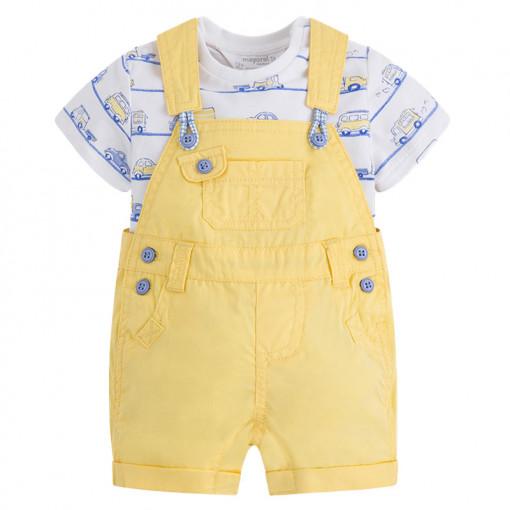 """Σετ σαλοπέτα κοντή κίτρινη με κοντομάνικη λευκή μπλούζα """"Μίνι Βαν"""""""