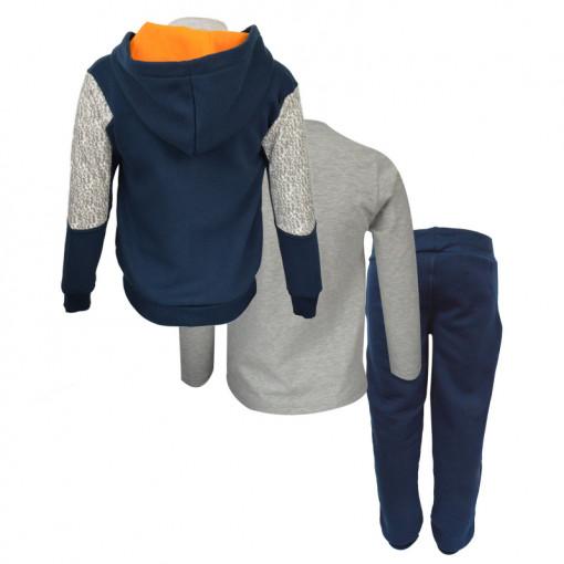 """Σετ σκούρη μπλε ζακέτα με κουκούλα και γκρι μακρυμάνικη μπλούζα με σκούρο μπλε φόρμα παντελόνι """"Shoe"""" πίσω μέρος"""