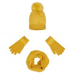 Σετ σκούφος και κασκόλ και γάντια κίτρινα