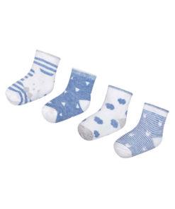 """Σετ τέσσερα ζευγάρια κάλτσες ριγέ γαλάζιο """"Λαγουδάκι"""""""