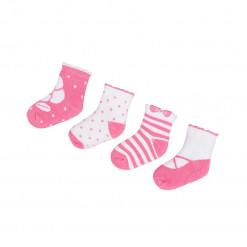 """Σετ τέσσερα ζευγάρια κάλτσες ριγέ ροζ """"Φιόγκος"""""""