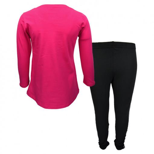 """Σετ φούξια μακρυμάνικη μπλούζα με μαύρο κολάν """"Girls"""" πίσω μέρος"""