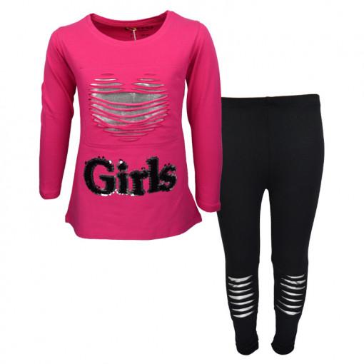 """Σετ φούξια μακρυμάνικη μπλούζα με μαύρο κολάν """"Girls"""""""