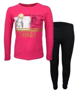 """Σετ φούξια μακρυμάνικη μπλούζα με μαύρο κολάν """"Little Things"""""""