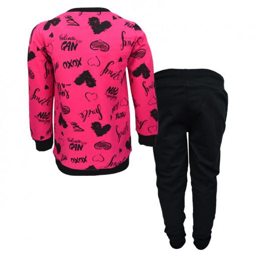 """Σετ φούξια μακρυμάνικη μπλούζα με μαύρο κολάν """"XoXo"""" πίσω μέρος"""