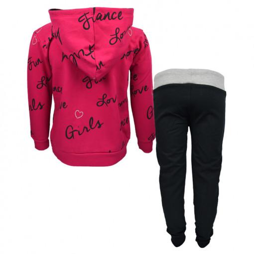 """Σετ φούξια ρόουζ μακρυμάνικη μπλούζα με κουκούλα και μαύρη φόρμα παντελόνι """"Fun Love"""" πίσω μέρος"""