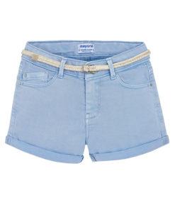 Σορτσάκι γαλάζιο με τσέπες και πλεκτή ζώνη