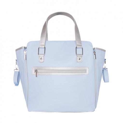 Τσάντα γαλάζια από πολυδερματίνη με επένδυση πίσω μέρος