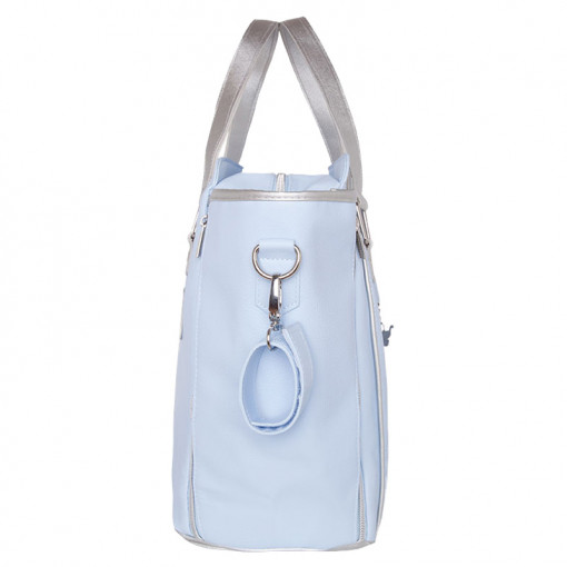 Τσάντα γαλάζια από πολυδερματίνη με επένδυση πλάγια
