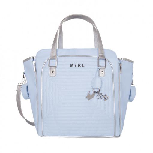 Τσάντα γαλάζια από πολυδερματίνη με επένδυση