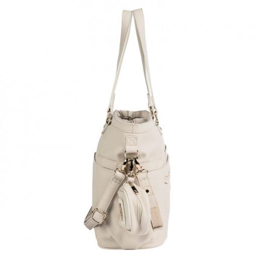 Τσάντα μπεζ από πολυδερματίνη απλή και θήκη για πιπίλα πλάγια