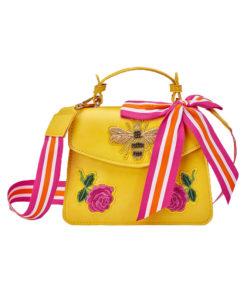 """Τσάντα χειρός κίτρινη """"Love"""""""