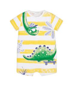 """Φορμάκι βρεφικό κοντομάνικο κίτρινο """"Δεινόσαυρος με Καπέλο"""""""