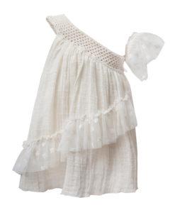 Φούστα εκρού με κορδέλα για τα μαλλιά και διάτρητο λάστιχο στην μέση